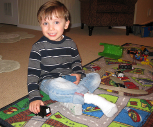 Adam playing with TrackMaster Engine Diesel