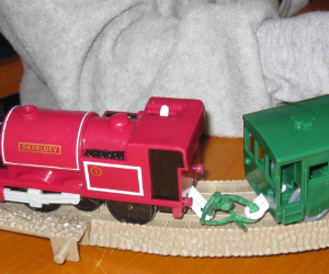 Repaired TrackMaster Cars with Bendaroos