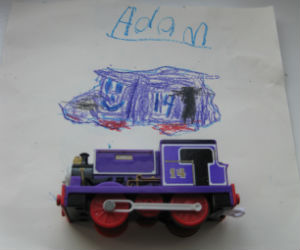 Adam's drawing of Charlie from Sodor Island