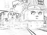 Diesel 10 and Percy coloring page