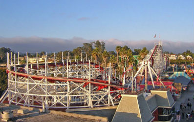 Famous wooden roller coaster ride called the Giant Dipper