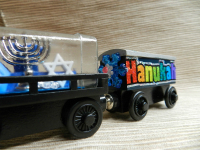 Hannukah wooden trains