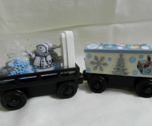 Hand made Memory Keeper wooden trains Snowmen & Snowflakes