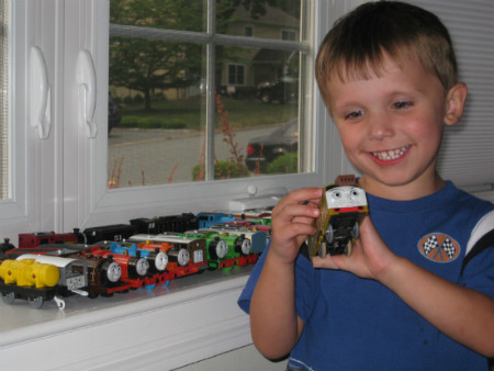 Adam collects rare trackmaster trains