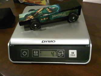 4.7 ounce Ninjago Green Ninja pinewood derby car