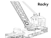 Rocky the crane colouring page