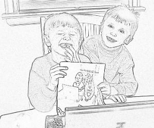 Sample of Charles and Adam's coloring page