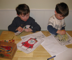 Charles and Adam with their Thomas Coloring Pages
