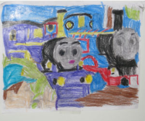 Adam proudly colored this Thomas the Magic Railroad colouring sheet
