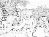Thomas and Lady with the Conductor of the Magic Railroad