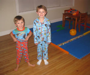 Charles and Adam with Thomas the train pajamas