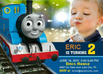 Personalized Photo Thomas The Train Birthday Invitations