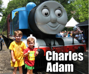Charles and Adam with Thomas the Train