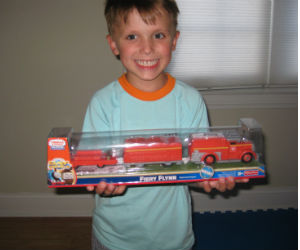Adam showing off his new trackmaster Fiery Flynn
