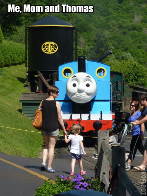 Mom and I meeting Thomas the train